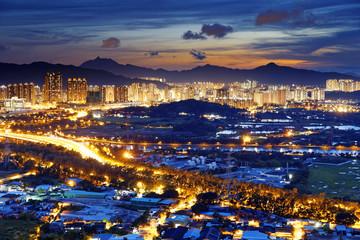 Urban downtown at sunset moment, Hong Kong