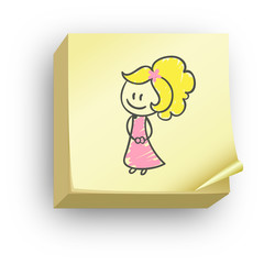 Post-it fille crayon