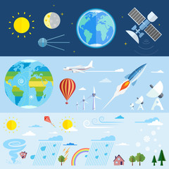 Flat vector icons of space and meteorological elements.