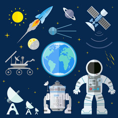 Set of flat space icons. Vector illustration of planet Earth, Su