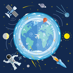 Flat vector illustration of planet Earth and space icons. Astron