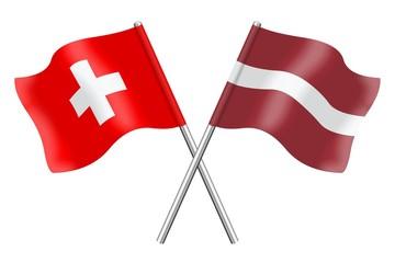 Flags: Switzerland and Latvia