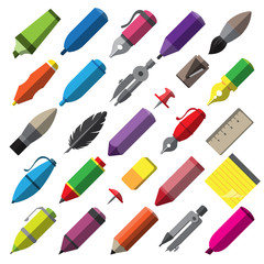 Stationery writing drawing and painting tools icons set vector i
