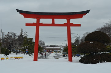 Japanese Torii Gate in the Winter