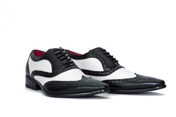 Black and white mens gangster shoes
