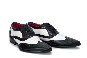 Black and white mens shoes