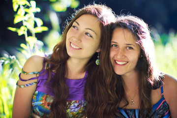 friendship smiling two girls