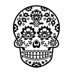 Mexican sugar skull - Polish folk art style - Wycinanka