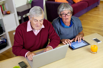 Senior couple love technology