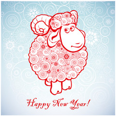 Funny sheep on white background of Snowflakes 1.