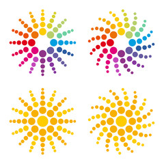 colorful sun composition of dots