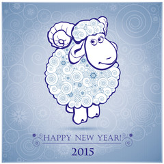 Funny sheep on white background of Snowflakes 2