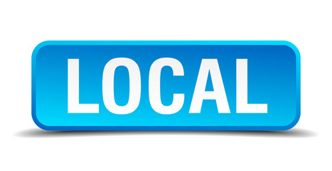 Local blue 3d realistic square isolated button