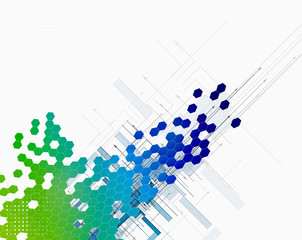 abstract colour dot hexagon innovation technology background
