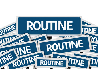 Routine written on multiple blue road sign