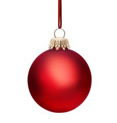 Rote Weihnachtskugel mit Band