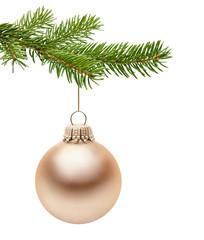 Goldene Weihnachtskugel am Zweig