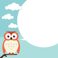 Owl with speech bubble