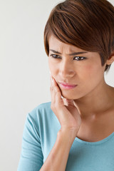 worry woman with toothache, oral problem, anxiety mood