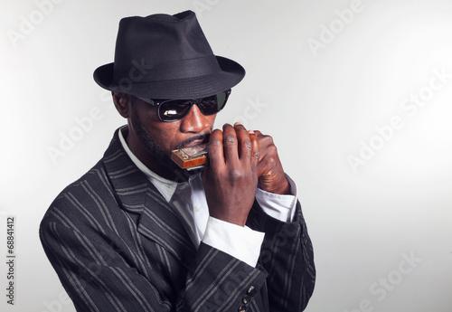 Fototapeta musician plays the harmonica