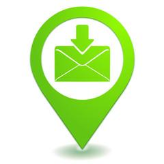 boite de réception sur symbole localisation vert
