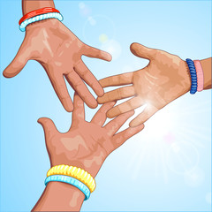 Three hands on a blue background