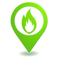 flamme sur symbole localisation vert
