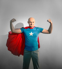 man acting as a super hero