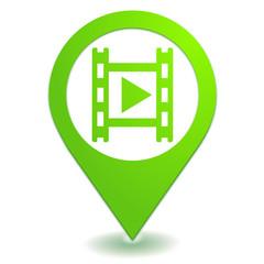 lecture vidéo sur symbole localisation vert