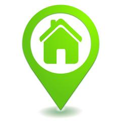 maison sur symbole localisation vert