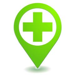 secours sur symbole localisation vert