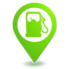 station essence sur symbole localisation vert