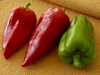 fresh sweet peppers on napkin