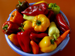 fresh harvested home grown sweet peppers