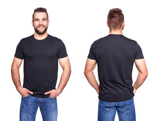 Black t shirt on a young man template