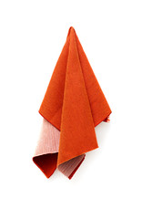a piece of red cloth on a white background