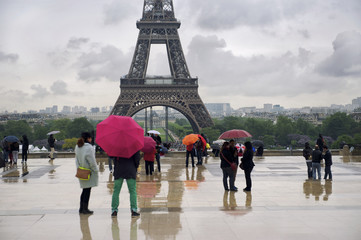 Colorful Umbrellas Rainy Day Eiffel Tower Paris