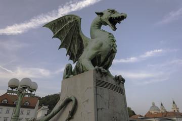 Dragon on the dragon bridge in Ljubljana