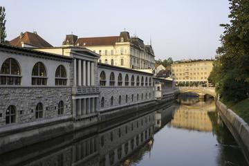 Ljubljanica river with marketplace and three bridges