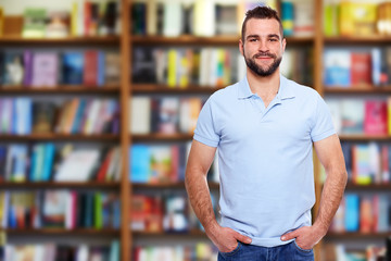 Young man in a bookstore
