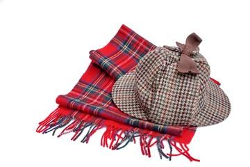 Deerhunter or Sherlock Holmes cap and tartan scarves