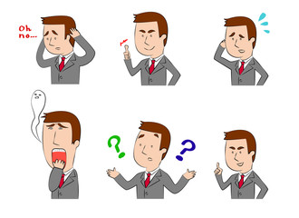 A set of illustration of businessman, concern, questions, happy