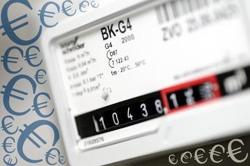 Gaszähler mit Eurozeichen, Heizkosten