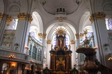 Interior of St. Michaelis church in Hamburg, Germany