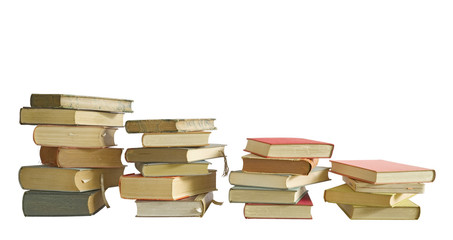 stacks of books, isolated on white background