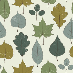 Vintage seamless pattern, autumn leaves