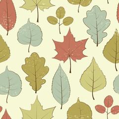 Vintage seamless pattern, autumn leaves