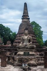 Buddha image at Wat Mahathat temple ruin in Sukhothai