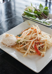 "Papaya spicy salad named ""Som Tum"", Thai food"