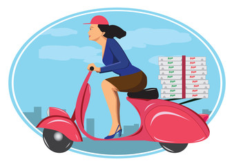 Deliver pizza on vintage scooter